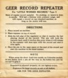 Geer Record Repeater instructions